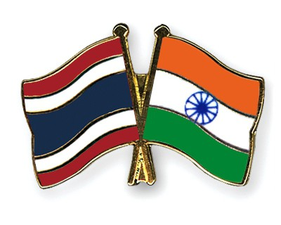 Crossed Flag Pins Thailand-India