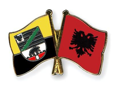 Crossed Flag Pins Saxony-Anhalt-Albania