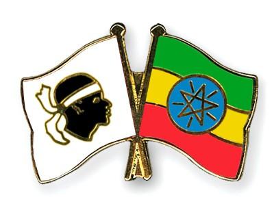 Crossed Flag Pins Corsica-Ethiopia