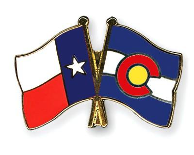 Crossed Flag Pins Texas-Colorado
