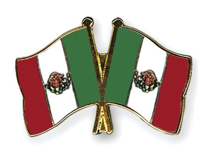 Crossed Flag Pins Mexico-Mexico