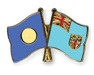 Crossed Flag Pins Palau-Fiji