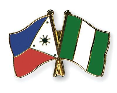 Crossed Flag Pins Philippines-Nigeria