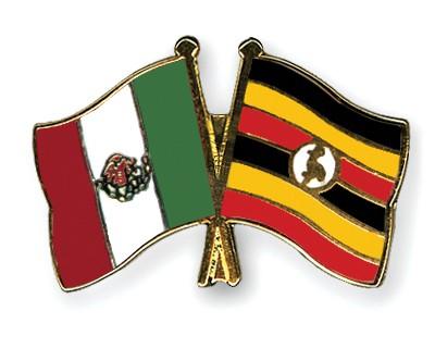 Crossed Flag Pins Mexico-Uganda