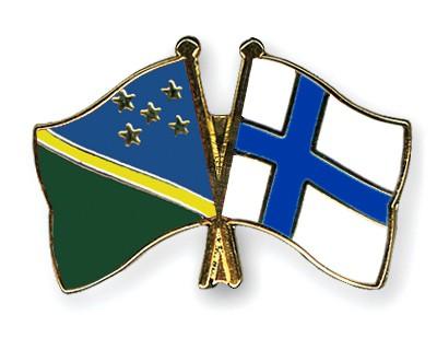 Crossed Flag Pins Solomon-Islands-Finland