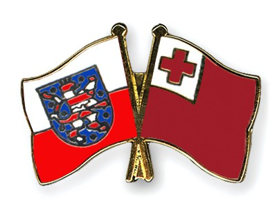 Crossed Flag Pins Thuringia-Tonga