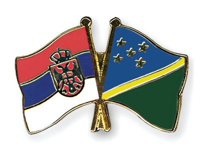 Crossed Flag Pins Serbia-without-Crest-Solomon-Islands