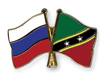 Crossed Flag Pins Russia-Saint-Kitts-and-Nevis