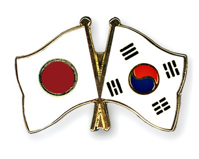 Crossed Flag Pins Japan-South-Korea