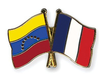 Crossed Flag Pins Venezuela-France
