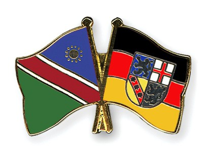 Crossed Flag Pins Namibia-Saarland
