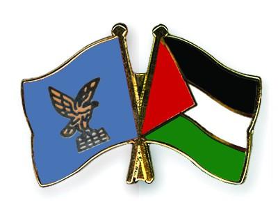 Crossed Flag Pins Friuli-Venezia-Giulia-Palestine
