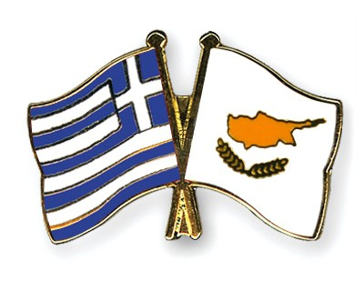 Crossed Flag Pins Greece-Cyprus