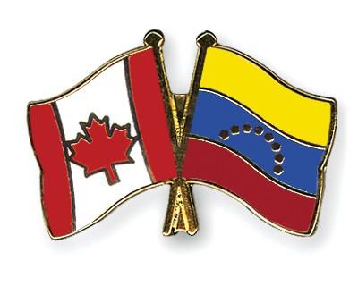 Crossed Flag Pins Canada-Venezuela