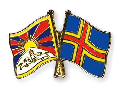 Crossed Flag Pins Tibet-Aland