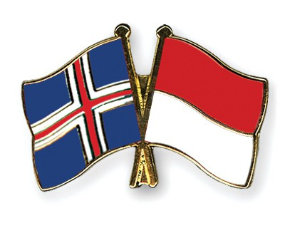 Crossed Flag Pins Iceland-Indonesia