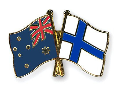 Special Offer Crossed Flag Pins Australia-Finland