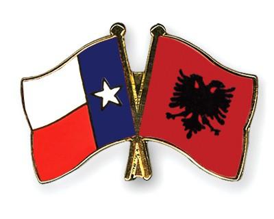 Crossed Flag Pins Texas-Albania