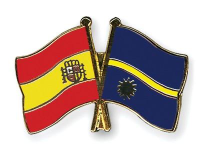 Crossed Flag Pins Spain-Nauru