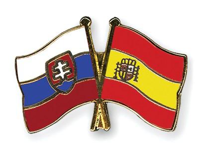 Crossed Flag Pins Slovakia-Spain