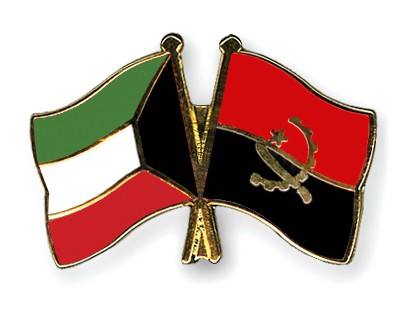 Crossed Flag Pins Kuwait-Angola
