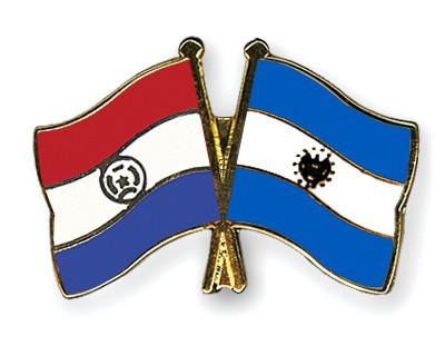 Crossed Flag Pins Paraguay-El-Salvador