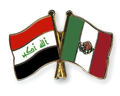 Crossed Flag Pins Iraq-Mexico
