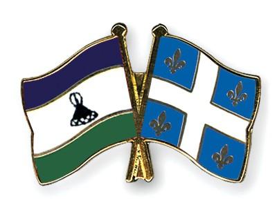 Crossed Flag Pins Lesotho-Quebec