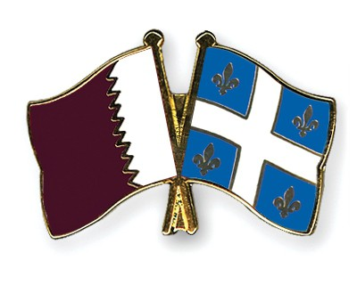 Crossed Flag Pins Qatar-Quebec