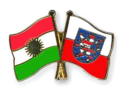 Crossed Flag Pins Kurdistan-Thuringia