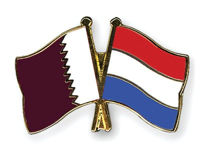 Special Offer Crossed Flag Pins Qatar-Netherlands
