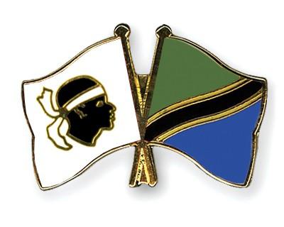 Crossed Flag Pins Corsica-Tanzania