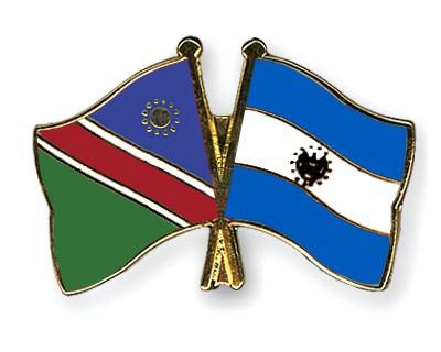 Crossed Flag Pins Namibia-El-Salvador
