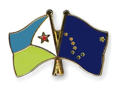 Crossed Flag Pins Djibouti-Alaska