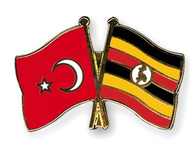 Crossed Flag Pins Turkey-Uganda