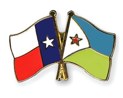 Crossed Flag Pins Texas-Djibouti