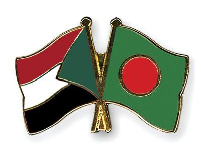 Crossed Flag Pins Sudan-Bangladesh