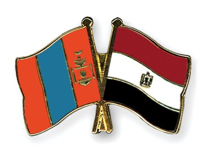 Crossed Flag Pins Mongolia-Egypt