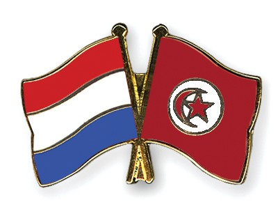 Crossed Flag Pins Netherlands-Tunisia