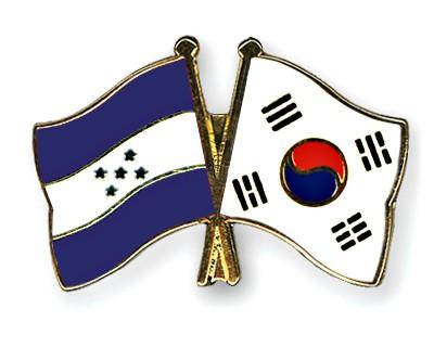 Crossed Flag Pins Honduras-South-Korea