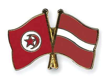 Crossed Flag Pins Tunisia-Latvia