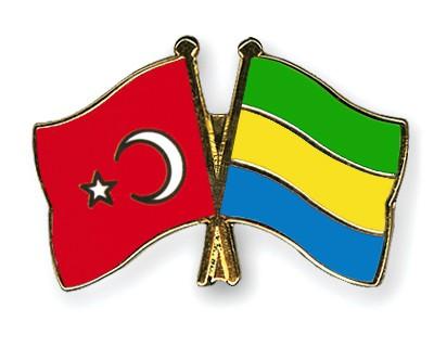 Crossed Flag Pins Turkey-Gabon