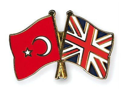 Crossed Flag Pins Turkey-Great-Britain
