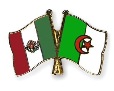 Crossed Flag Pins Mexico-Algeria