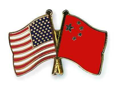 Crossed Flag Pins USA-China