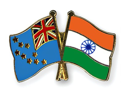 Crossed Flag Pins Tuvalu-India