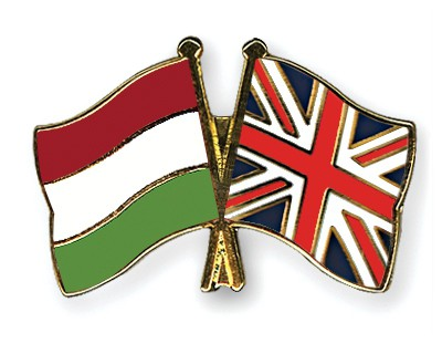 Crossed Flag Pins Hungary-Great-Britain
