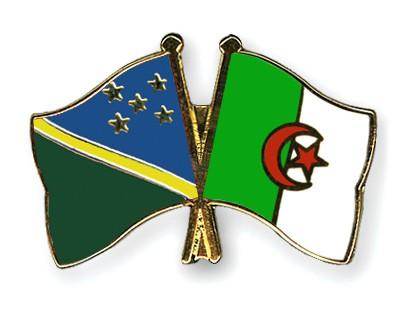 Crossed Flag Pins Solomon-Islands-Algeria