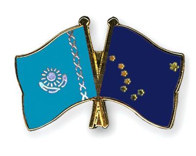 Crossed Flag Pins Kazakhstan-Alaska
