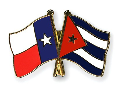 Crossed Flag Pins Texas-Cuba